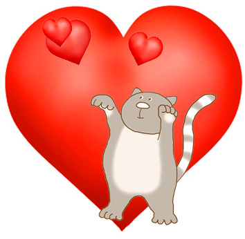 cute cat catching love hearts
