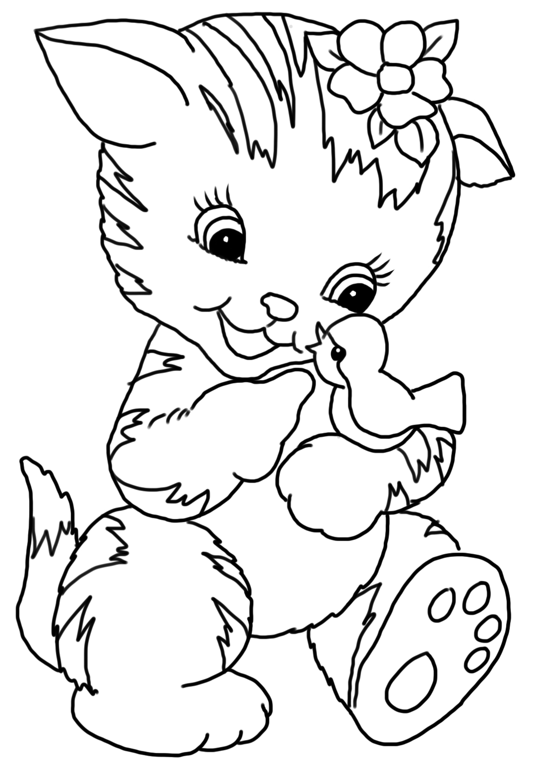 cat coloring page cute cat with bird