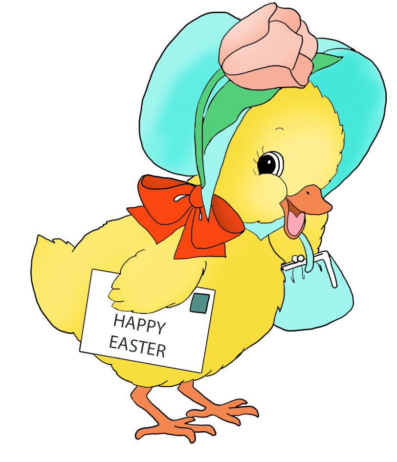Cute Easter chicken with greeting