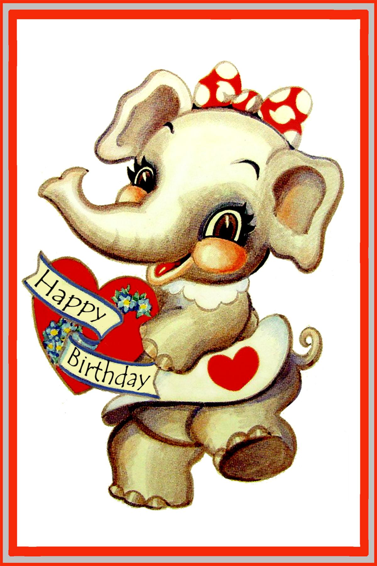 cute elephant birthday card