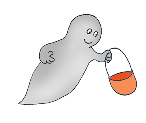 Cute ghost with basket trick or treat