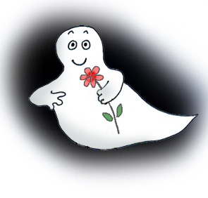 Romantic Halloween ghost with flower