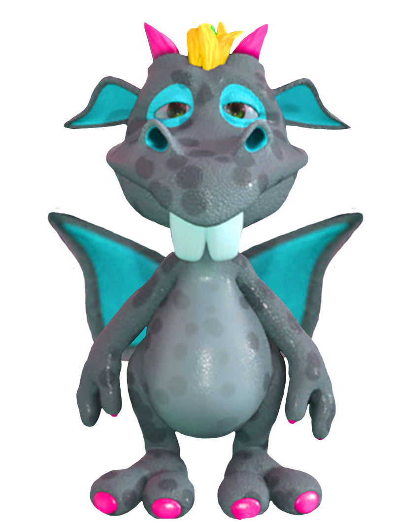 cute blue cartoon dragon