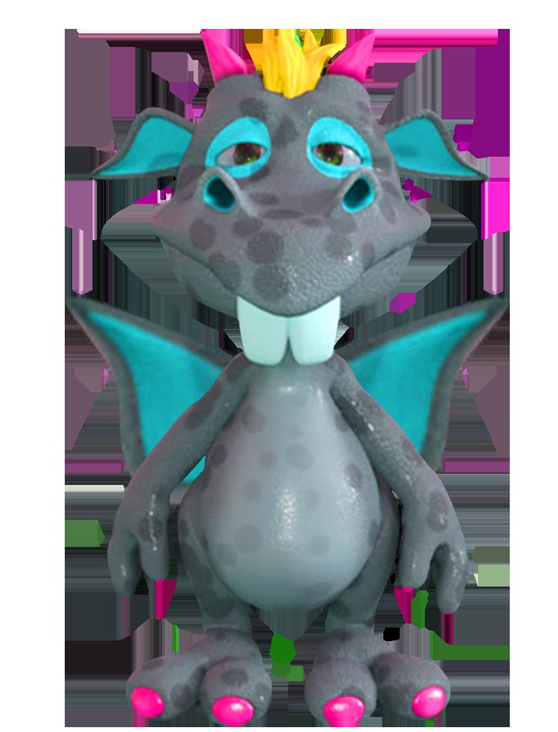 cute blue cartoon dragon