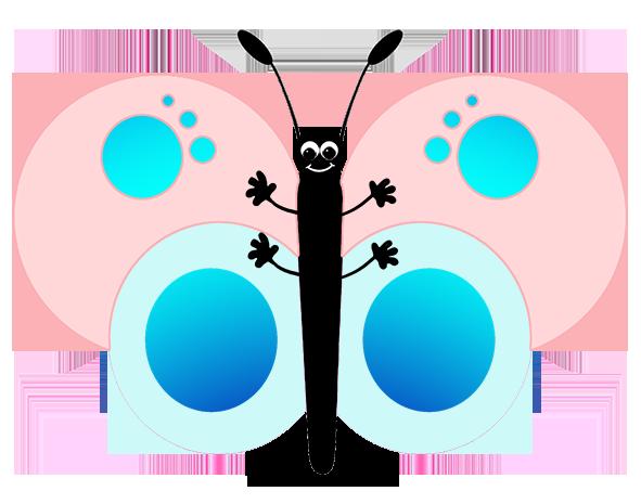 cute pink cartoon butterfly