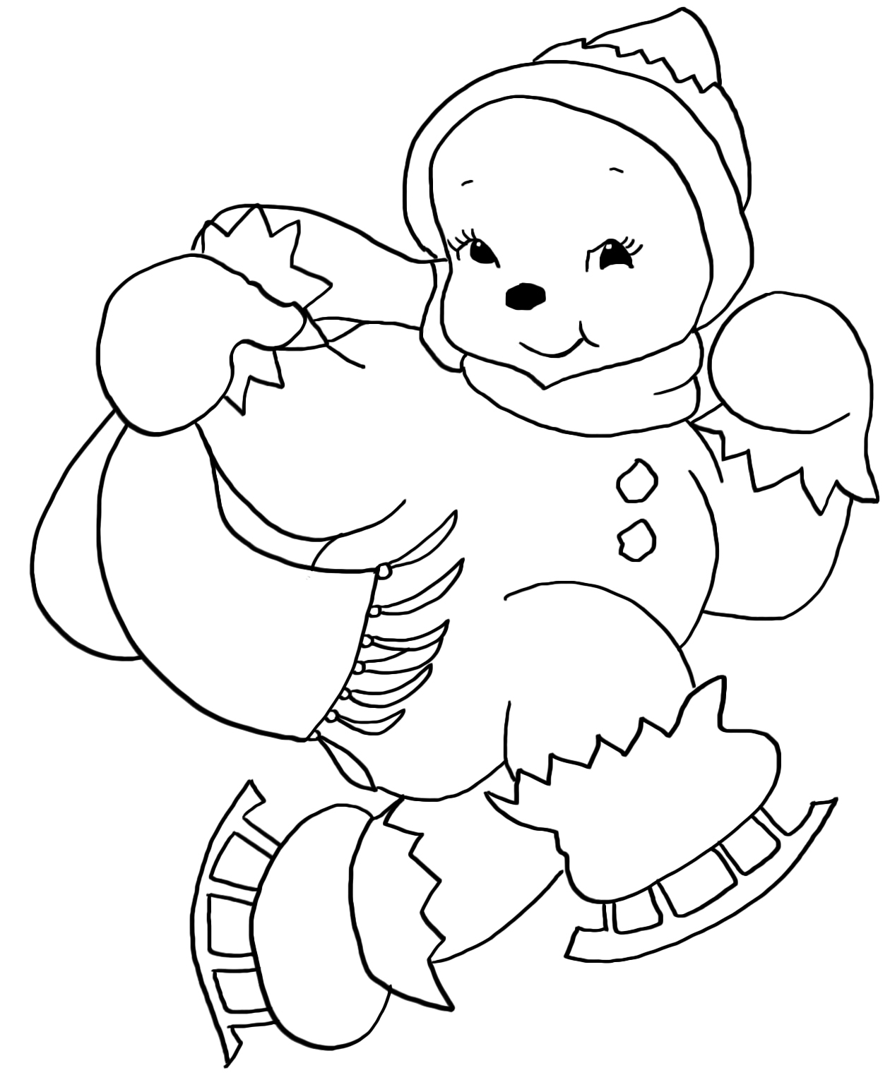 christmas girl snowman coloring pages - photo#1