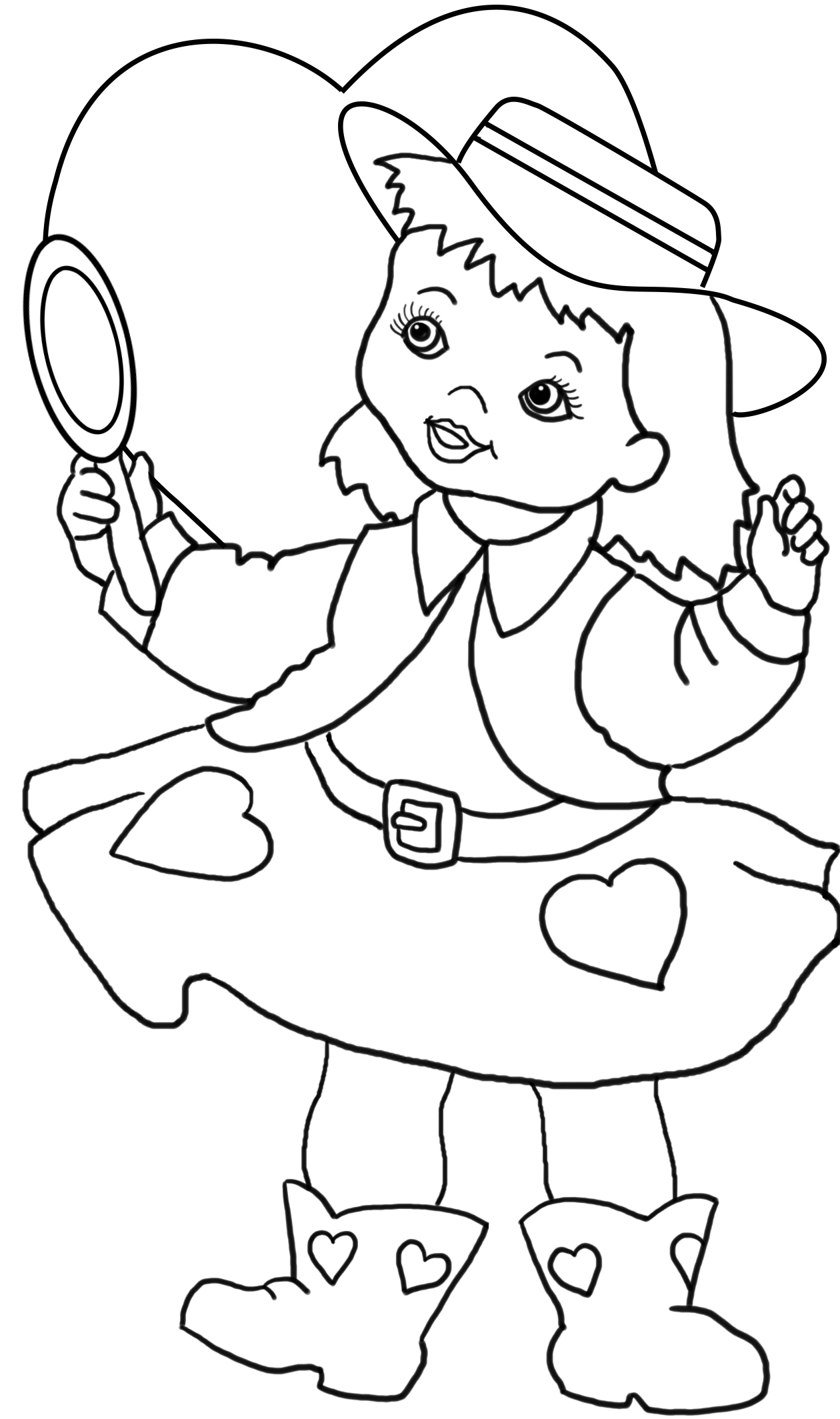 cow-girl with hearts for coloring