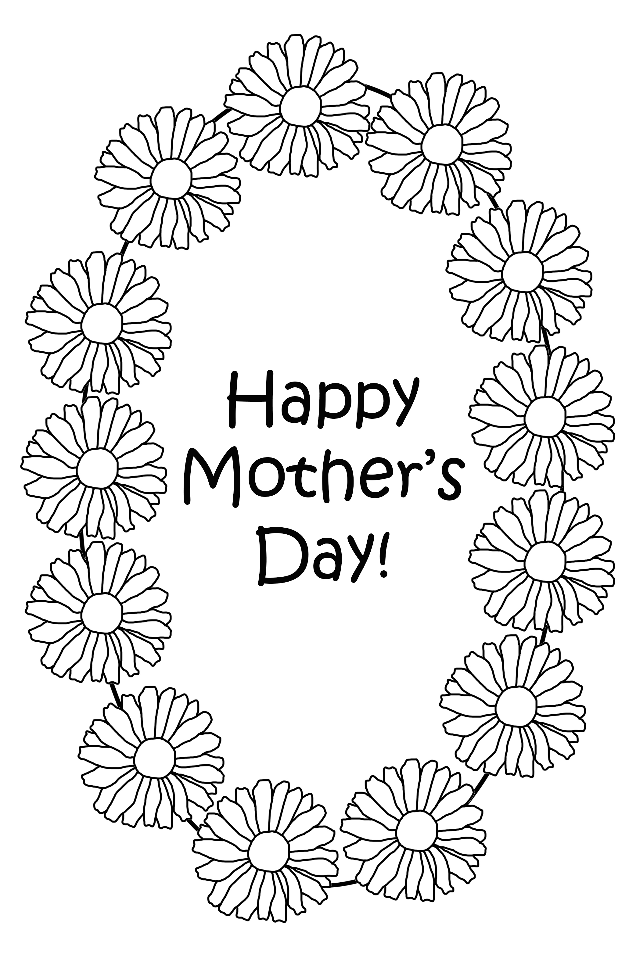 Mother's Day coloring with daisies