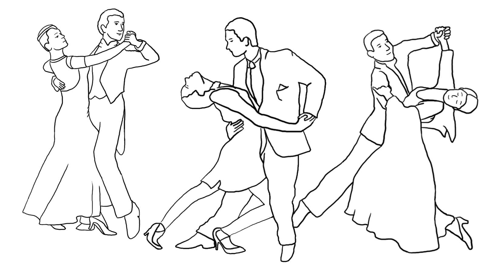 dance coloring page three couples