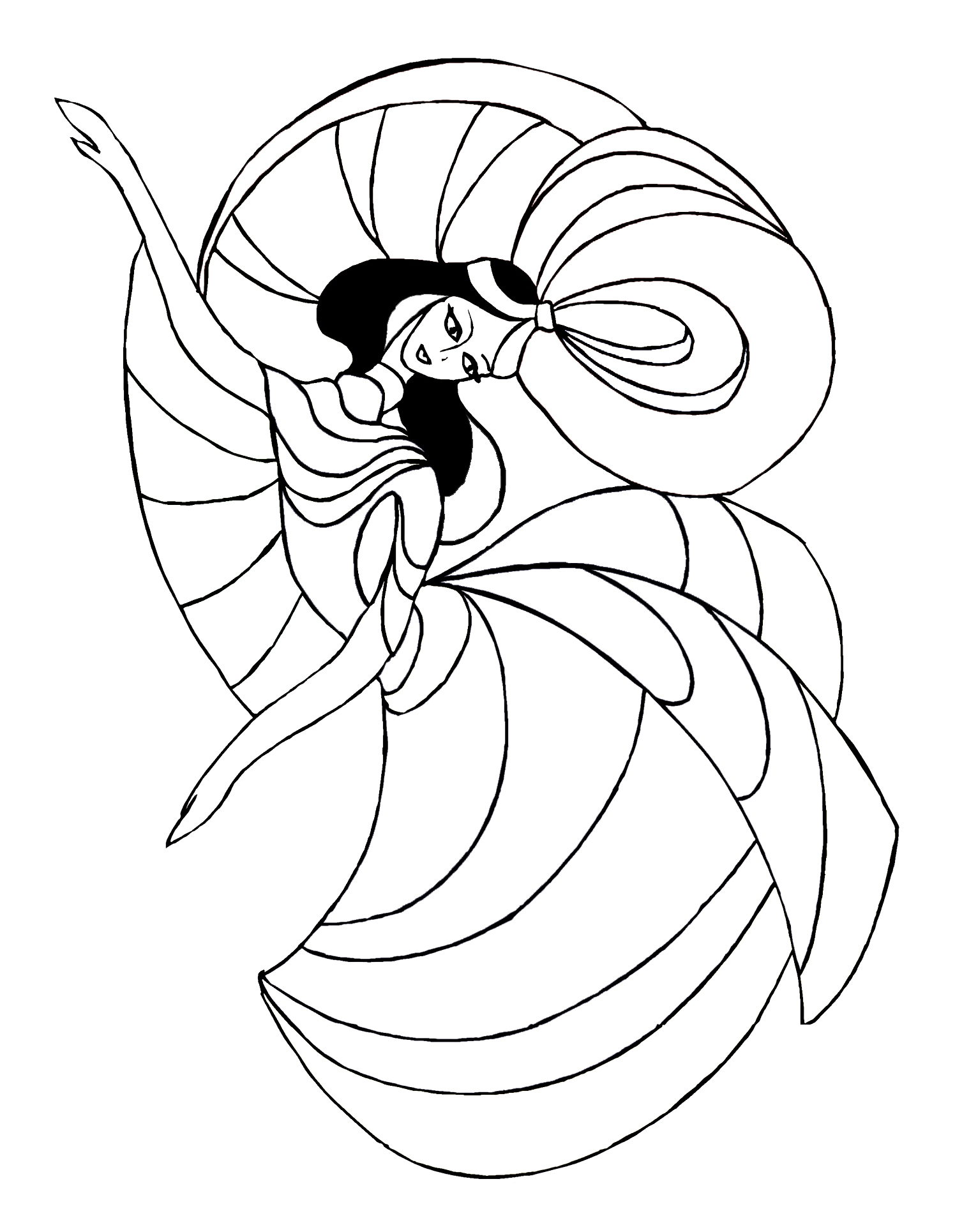 Black haired dancer for coloring