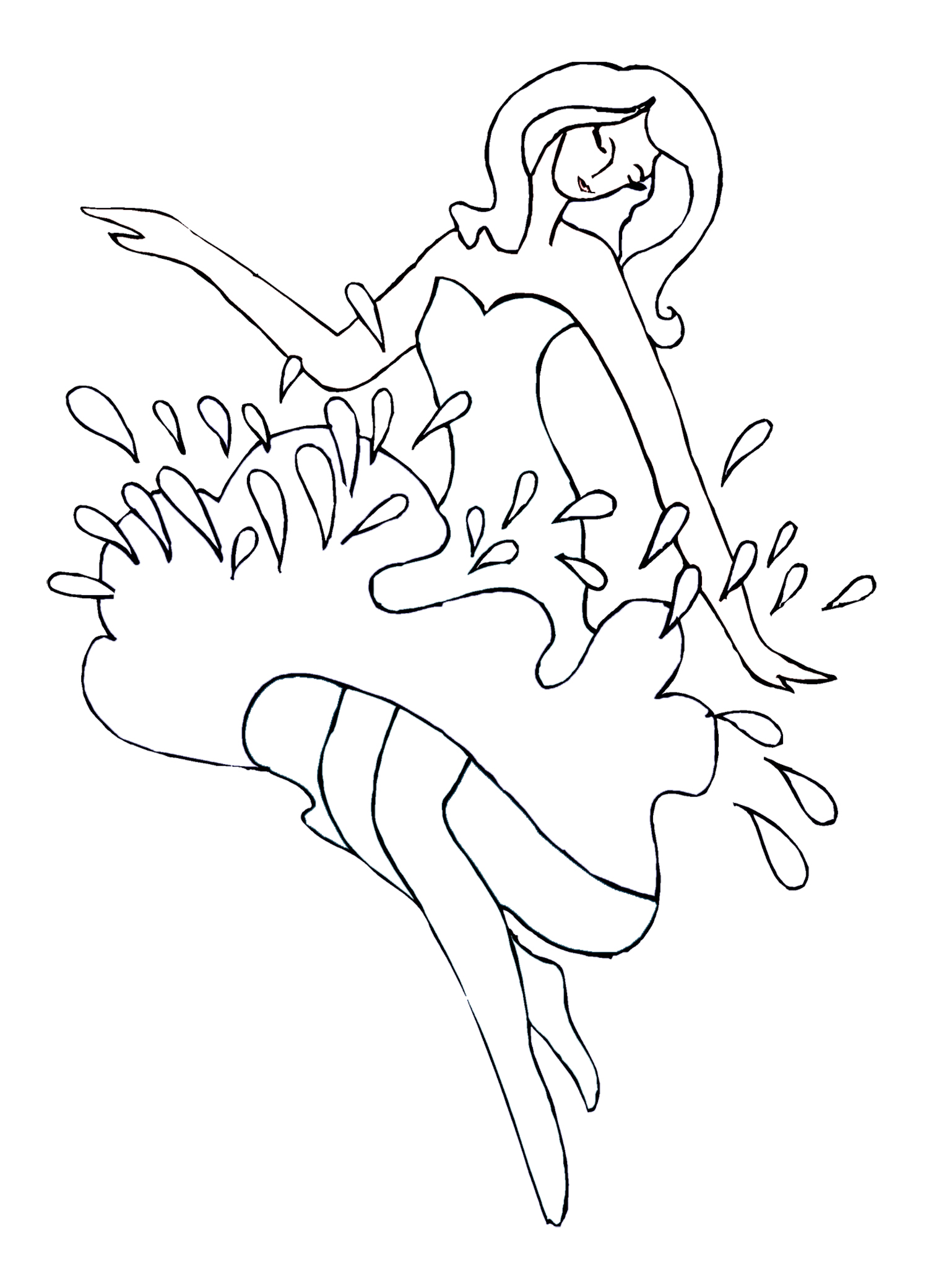 dance coloring page with water drops