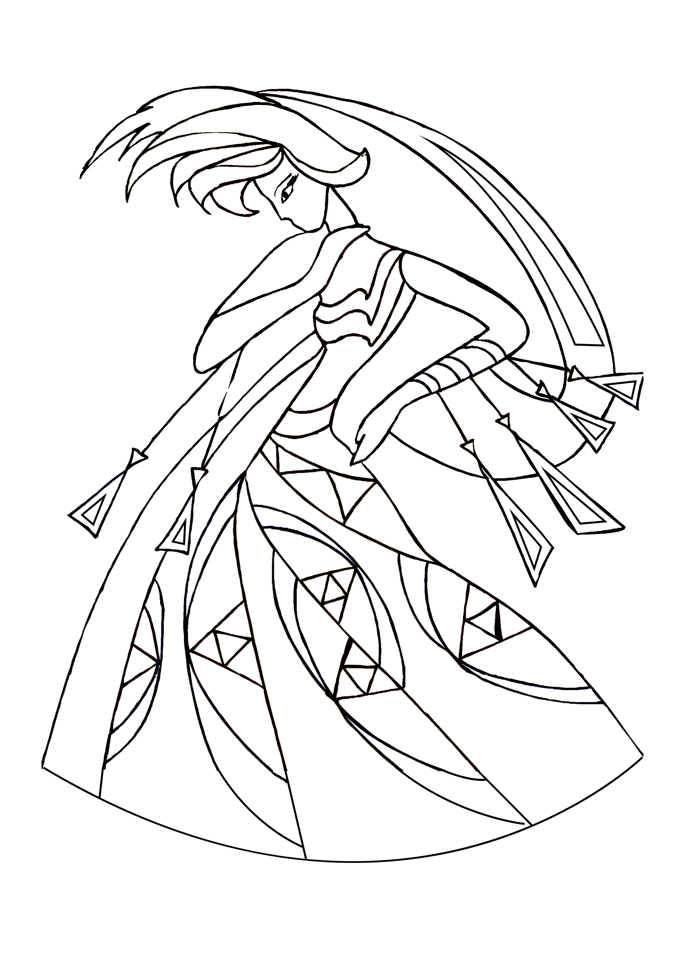 Art deco style dance coloring page