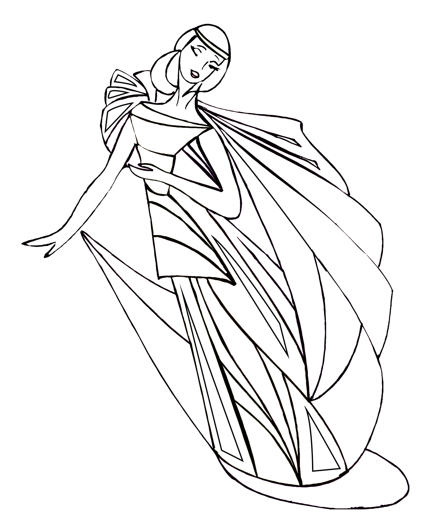 Coloring sheet with dancer