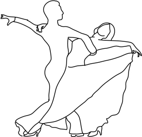 silhouette lines dancing couple