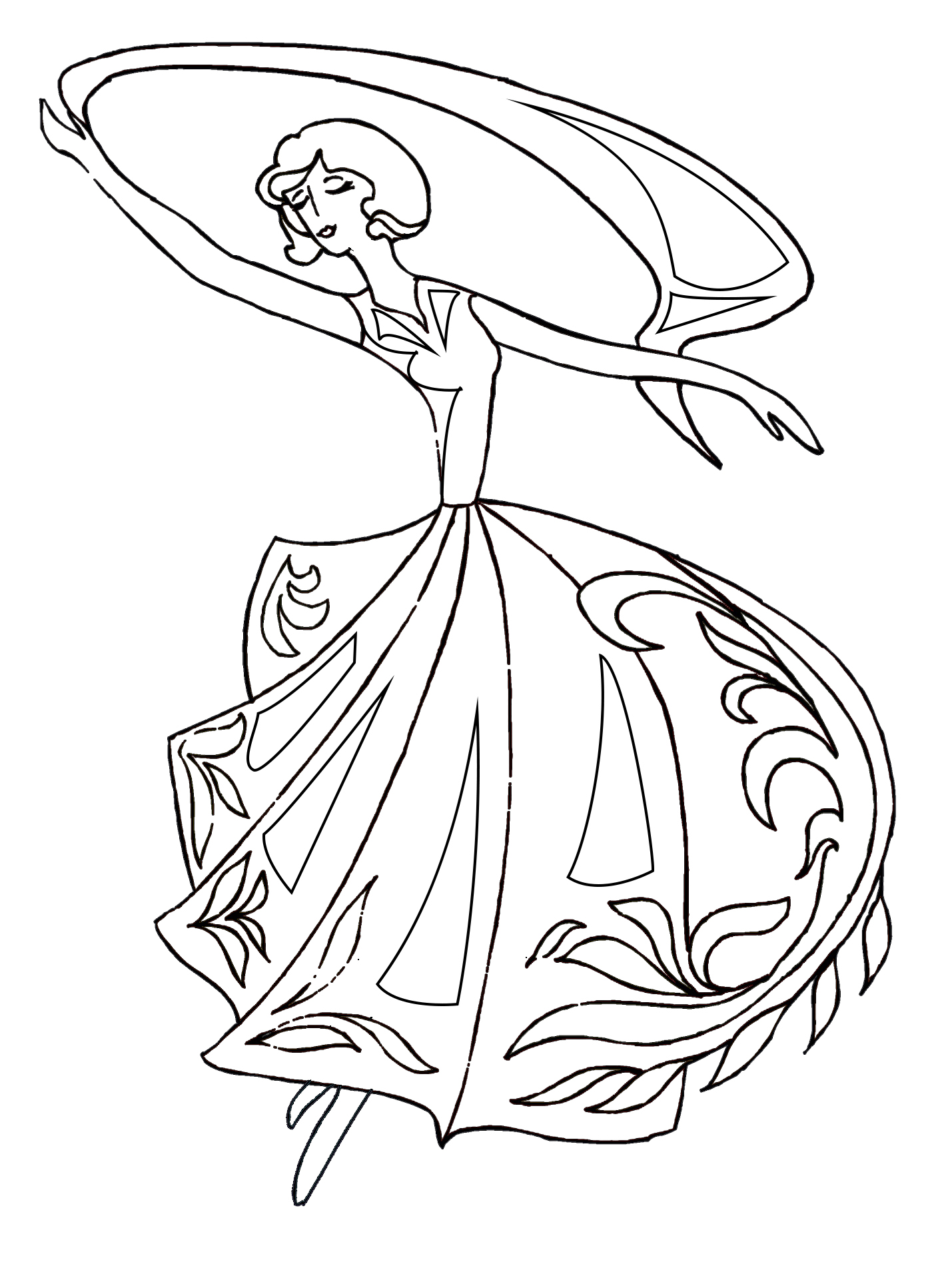 drawing of dancer for coloring