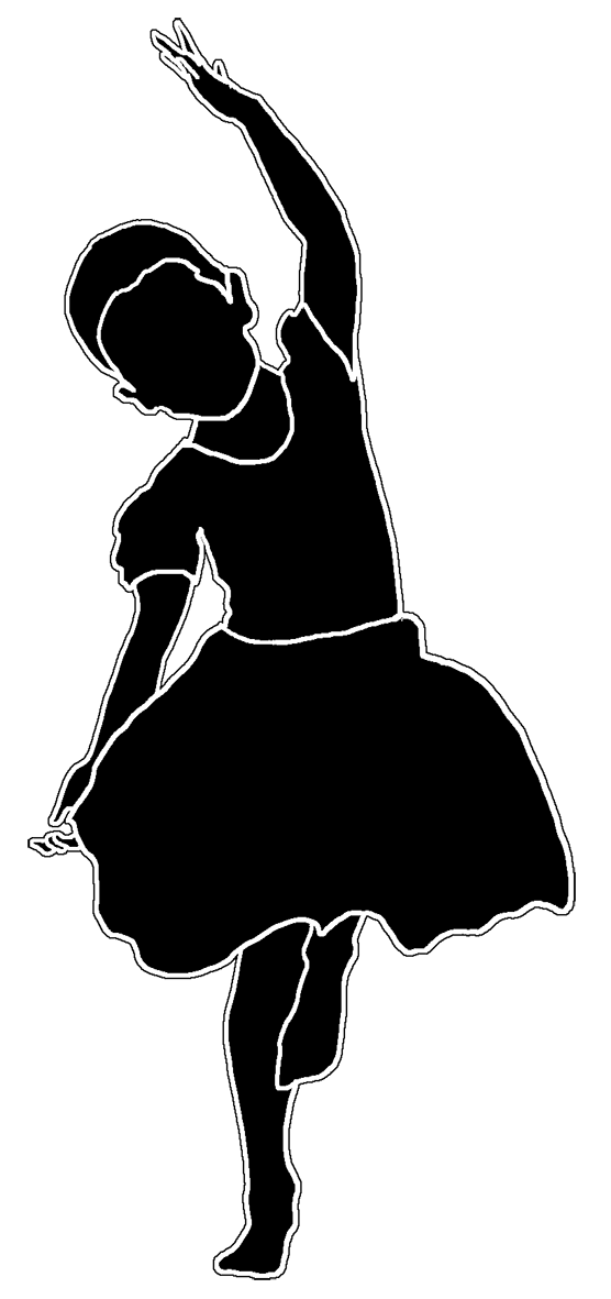 silhouette with white line girl dancing
