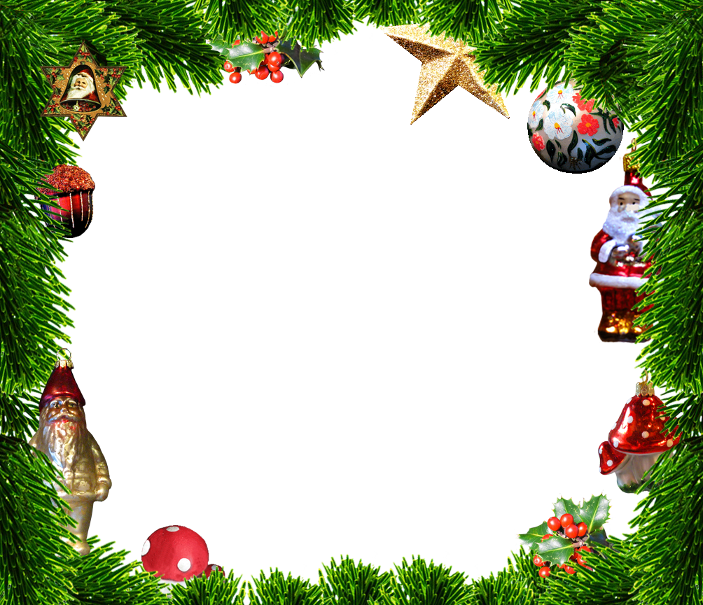 Decorated Christmas frame spruce ornaments