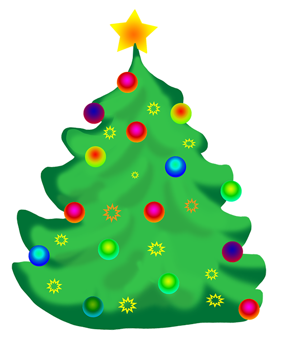 Decorated Christmas tree clip art