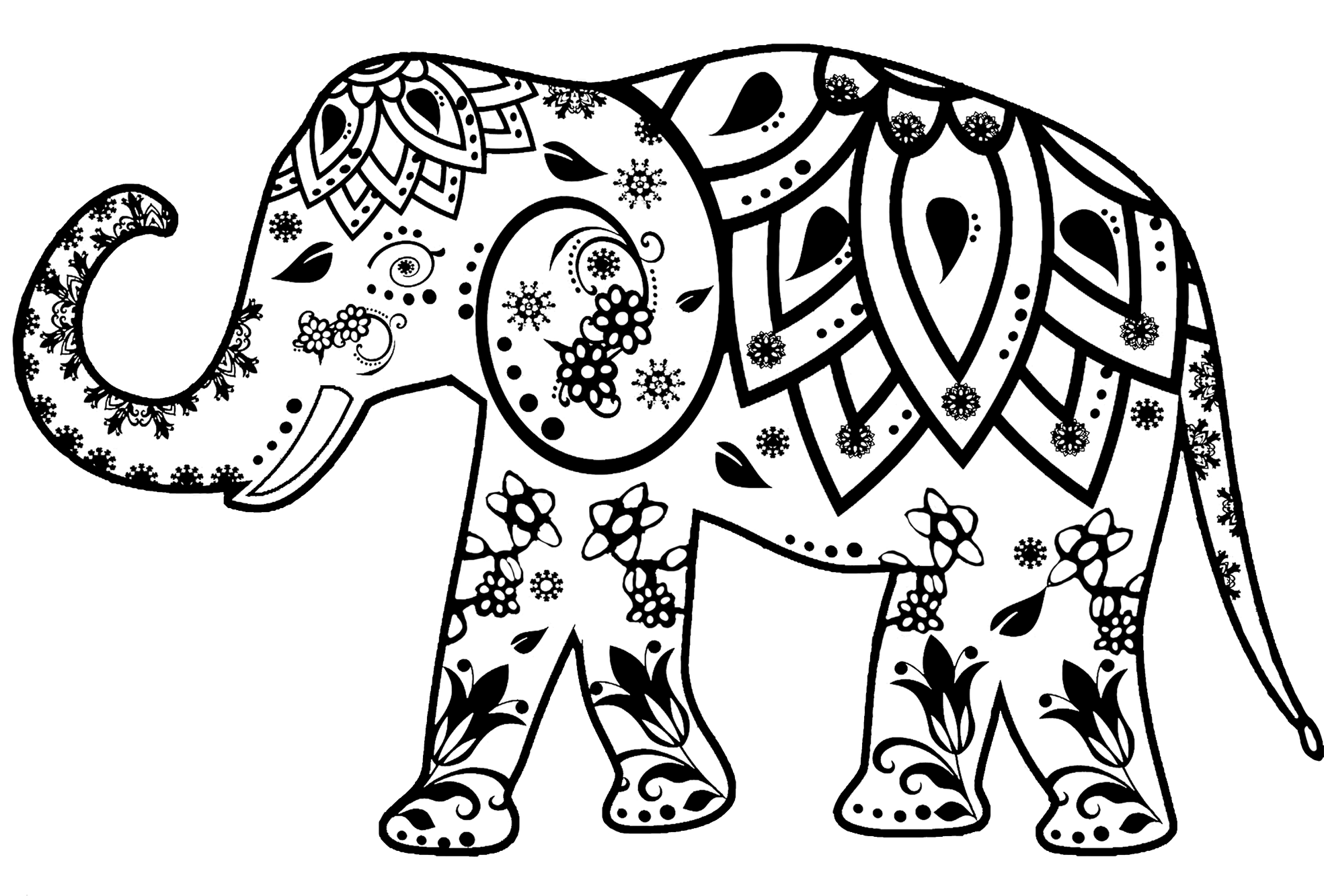 decorated elephant clipart