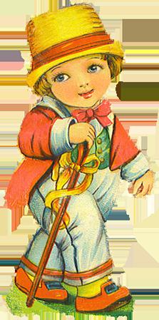 Vintage scrap boy dressed up