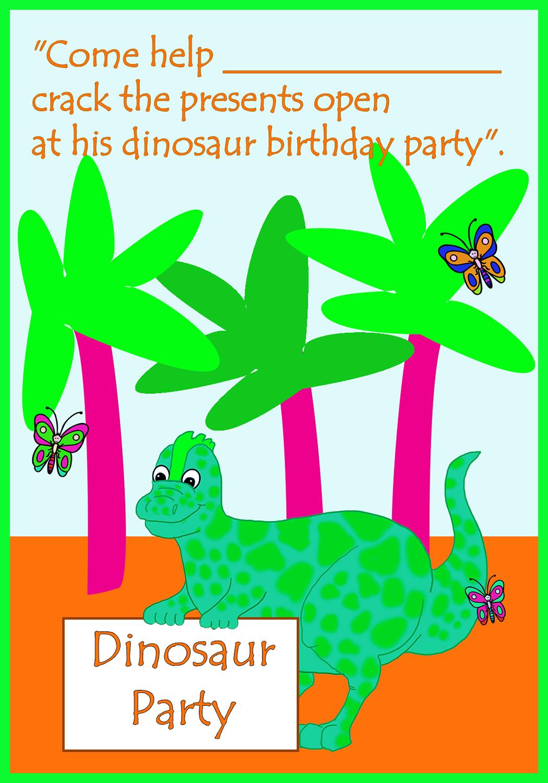cute dinosaur birthday invitation