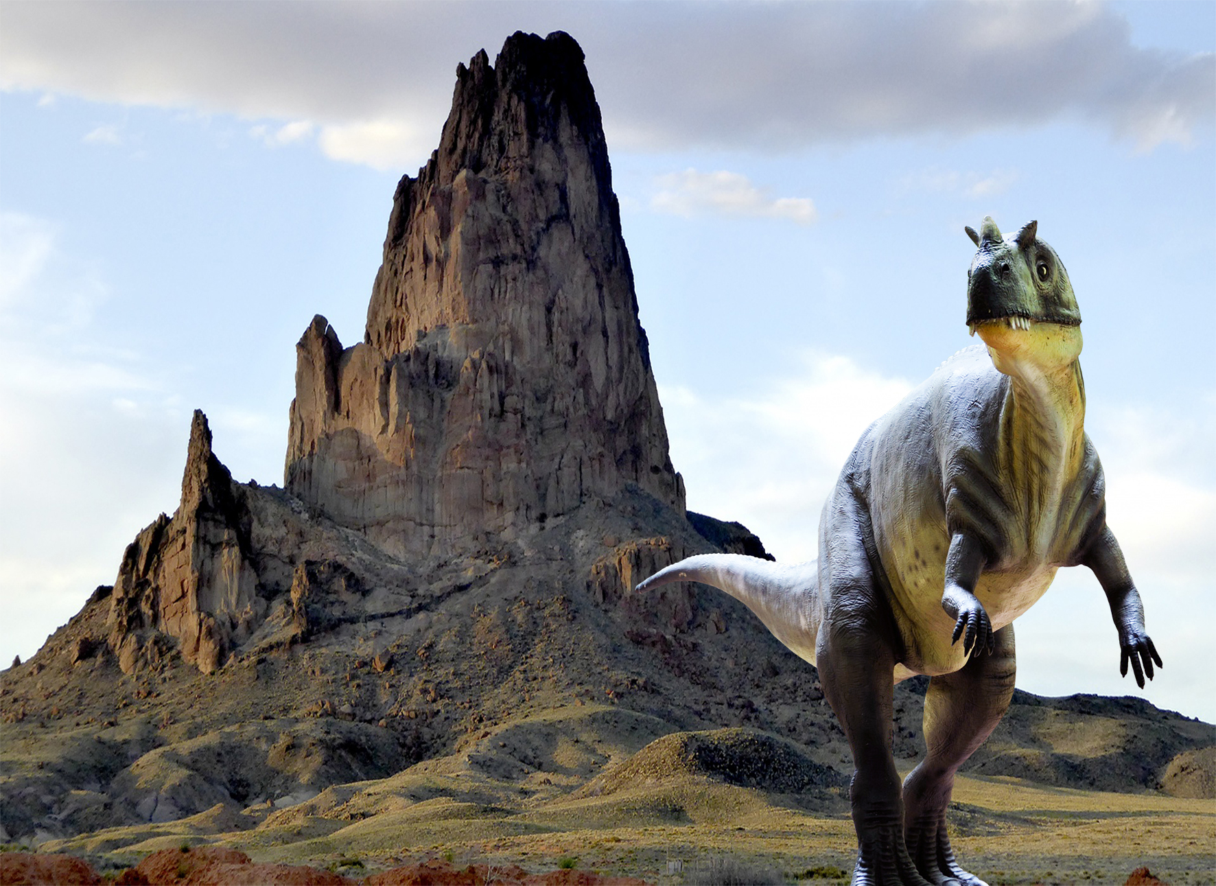 dinosaur in the mountains