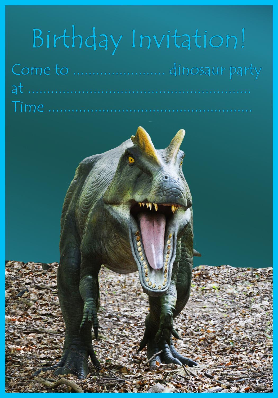 T rex birthday invitation