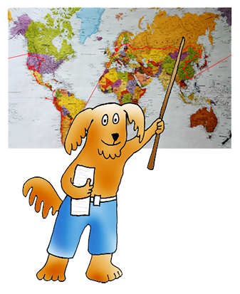 cartoon dog as geography teacher