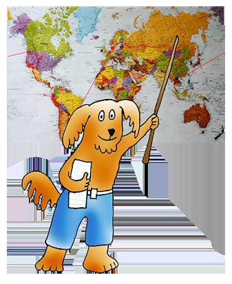 cartoon dog as geography teacher
