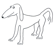 Dog cartoon illlustrations thin dog sketch