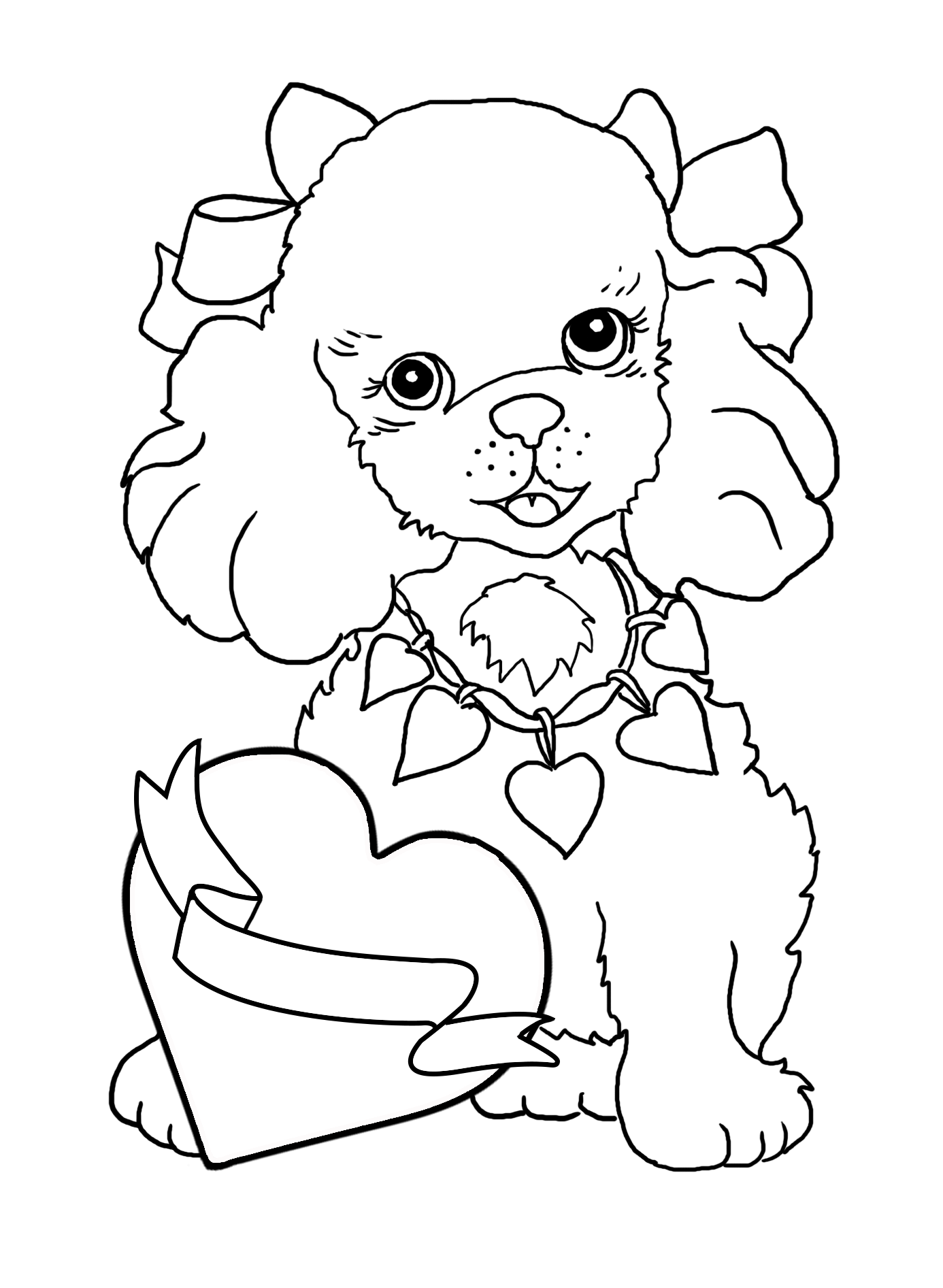 dog coloring page for Valentine's Day