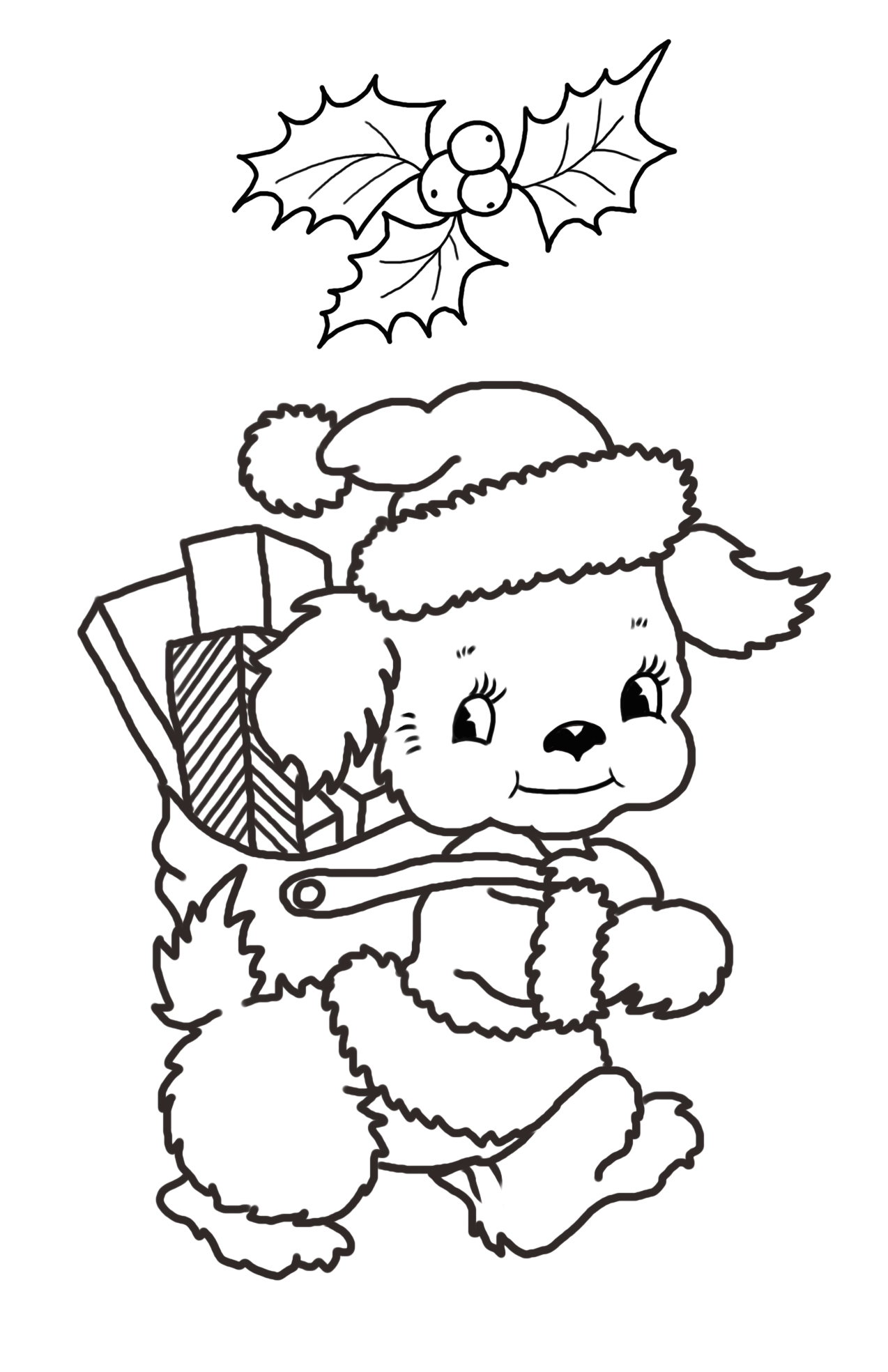 Christmas coloring page with dog and presents