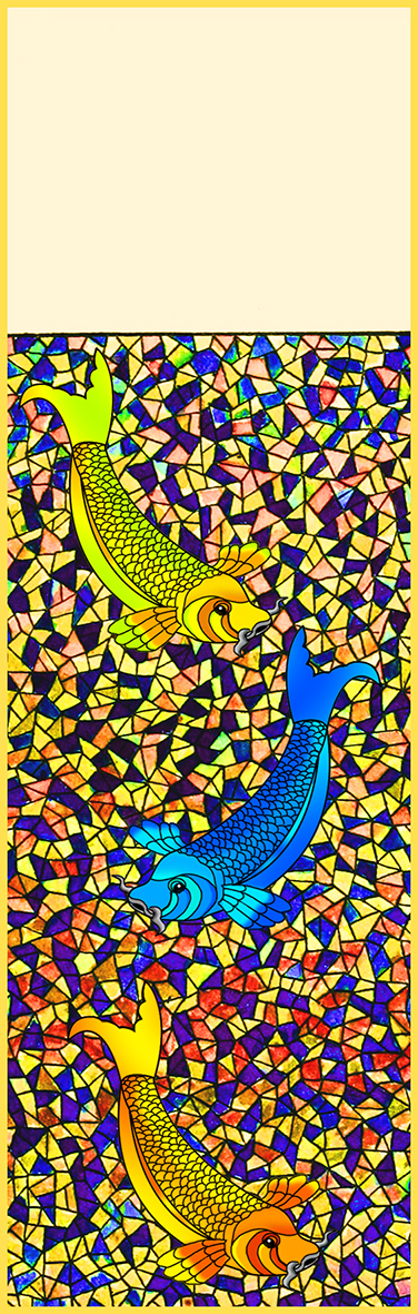 Yellow blue koi fish mosaics bookmark