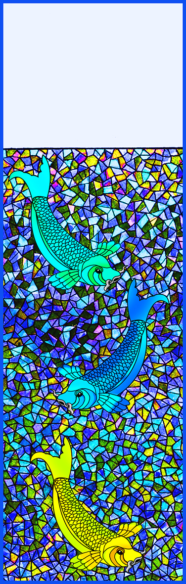 mosaics bookmark blue with koi fish