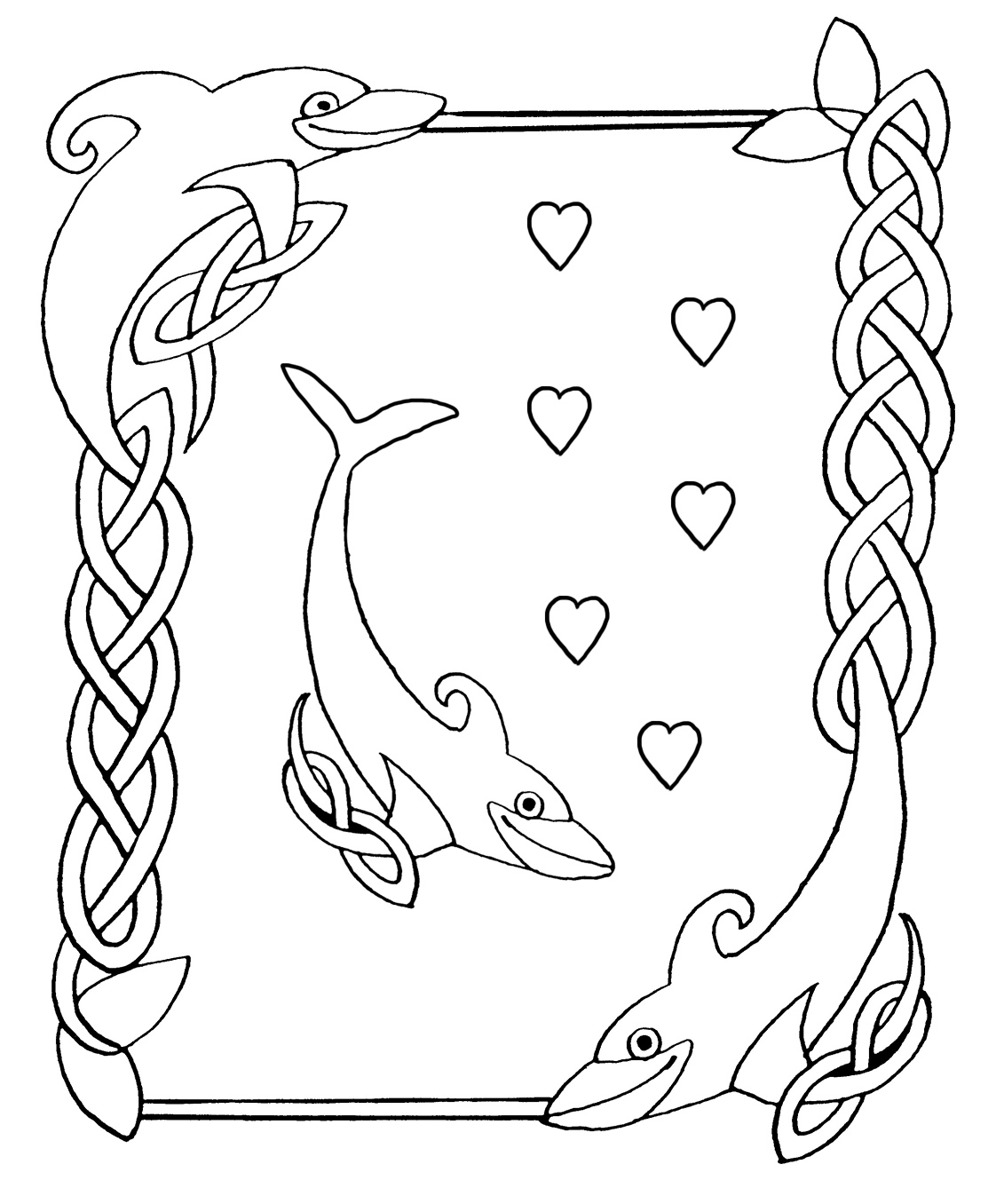 Free coloring pages dolphins - Dolphins Blowing Hearts