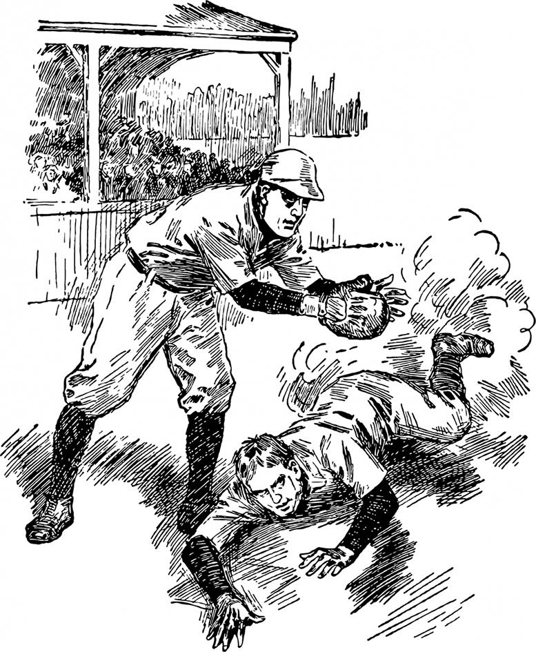 drawing of baseball players