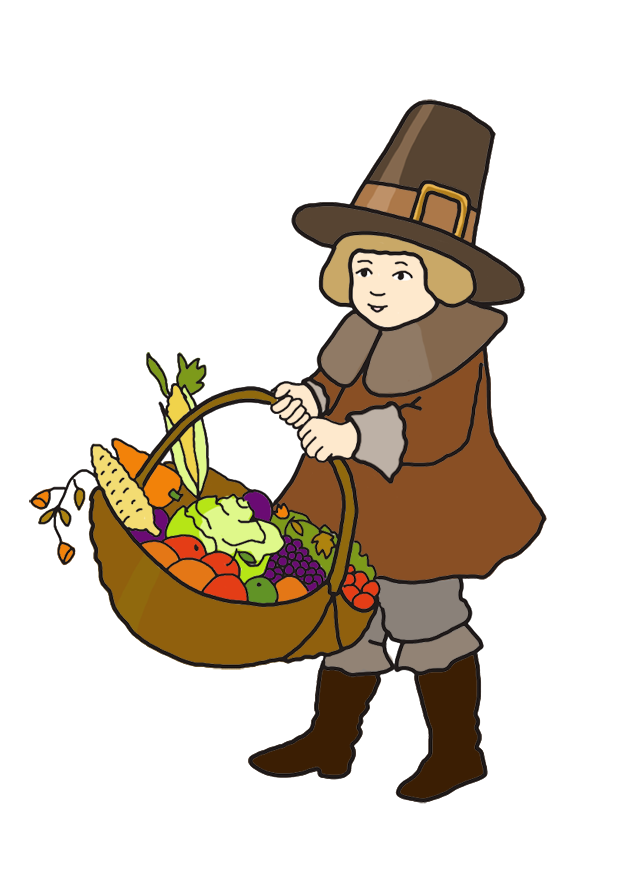 Pilgrim boy with Thanksgiving harvest