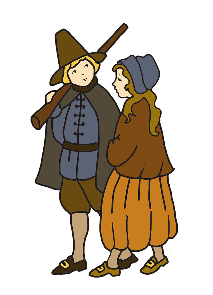 Thanksgiving drawing pilgrim boy and girl