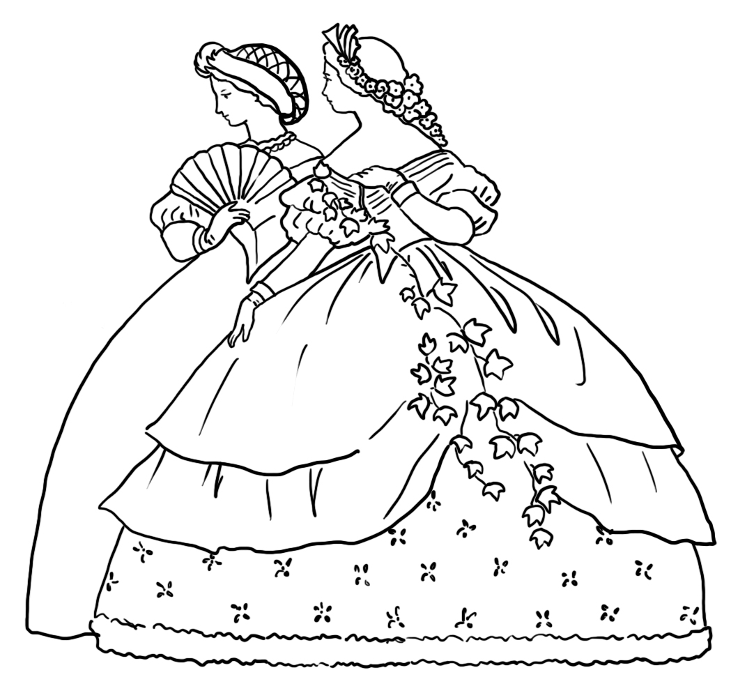 coloring page of two Victorian ladies