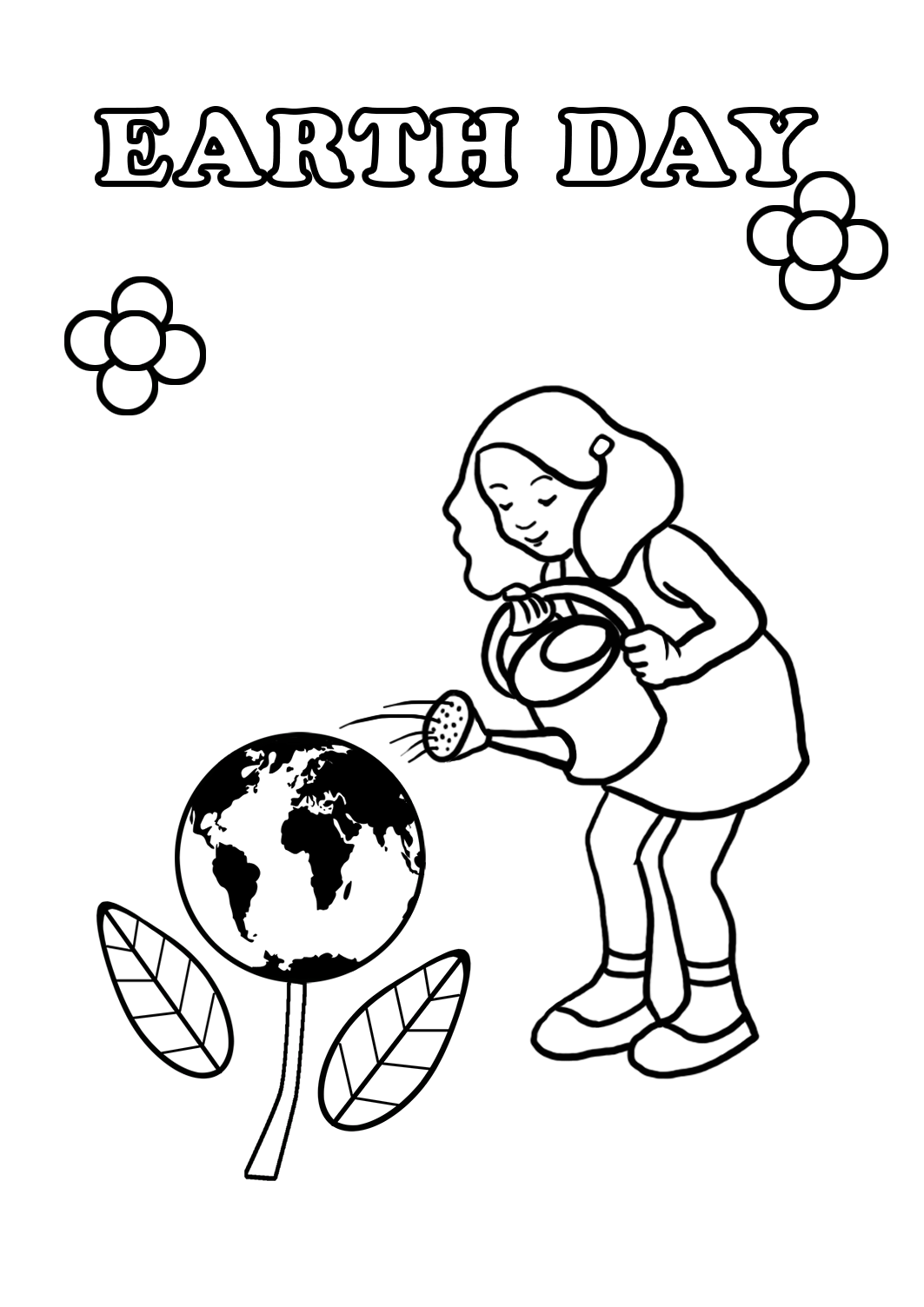 Earth Day coloring page girl watering eart