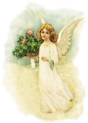 Easter angel with basket with clover