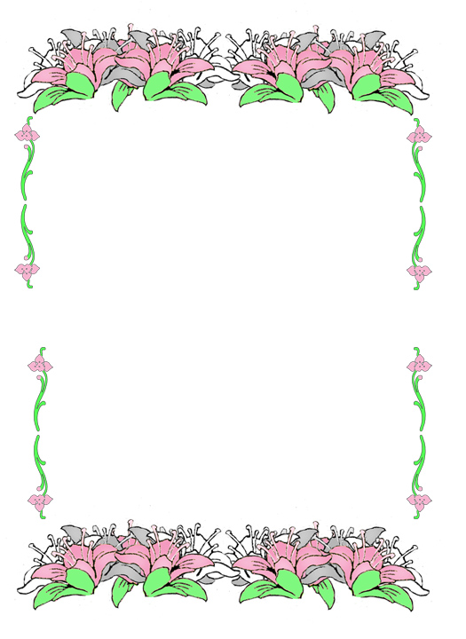 Easter border with pink flowers