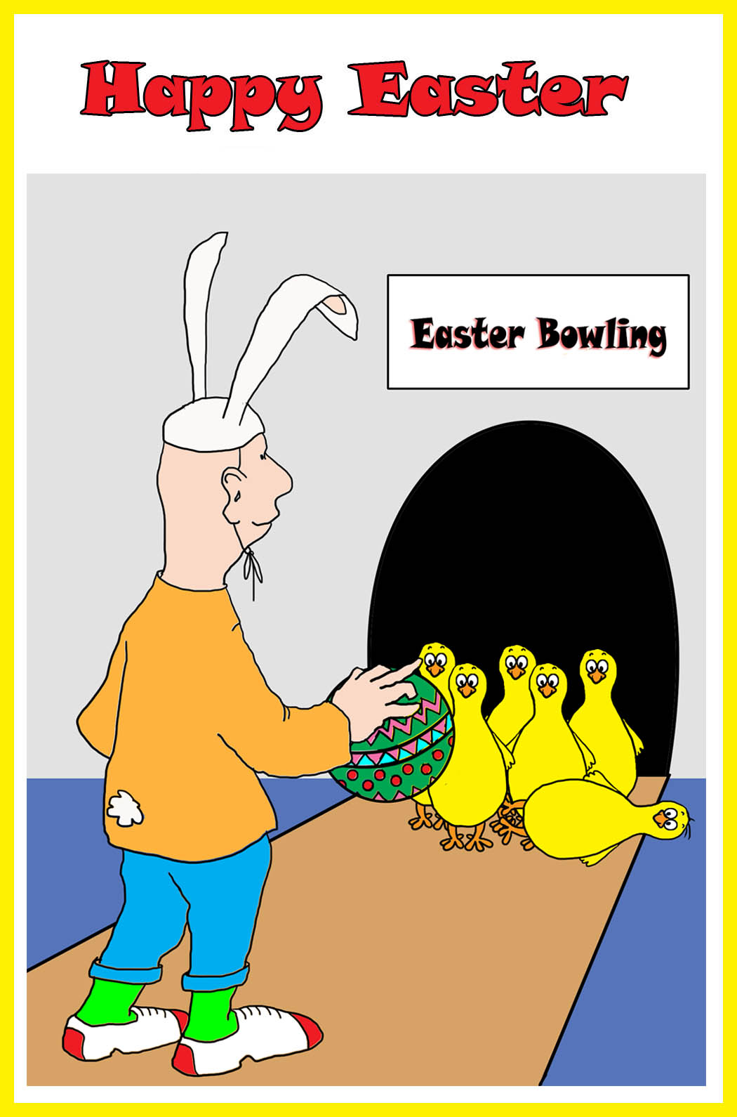 fun Easter card with bowling theme
