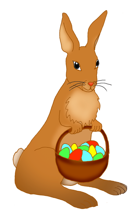Easter bunny with basket with eggs