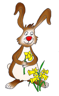 funny easter bunny with daffodils
