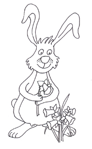 funny easter bunny sketch with daffodils