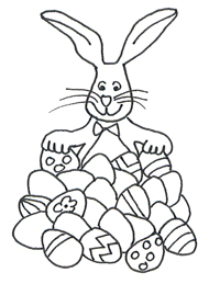 easter bunny clipart lots of eggs