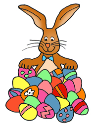 easter bunny with lots of painted eggs