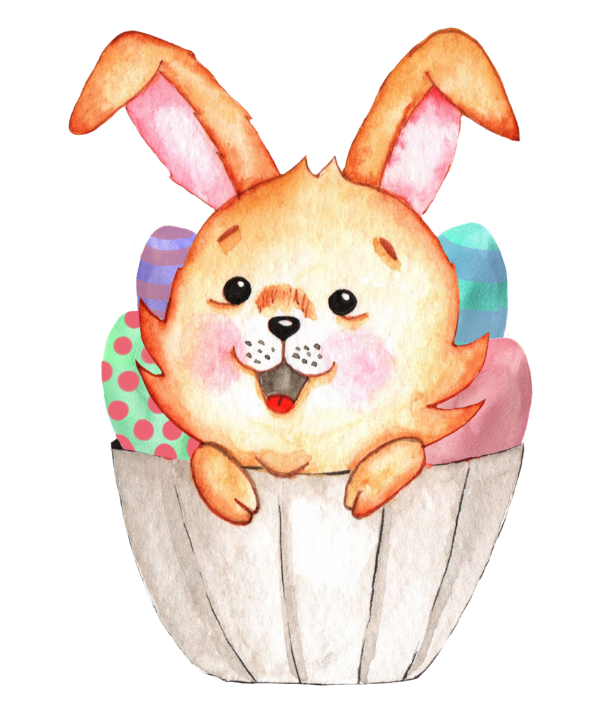 Easter bunny in basket with colored Easter eggs