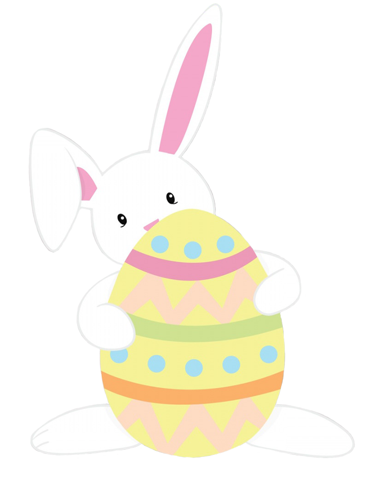 Easter bunny with decorated Easter egg